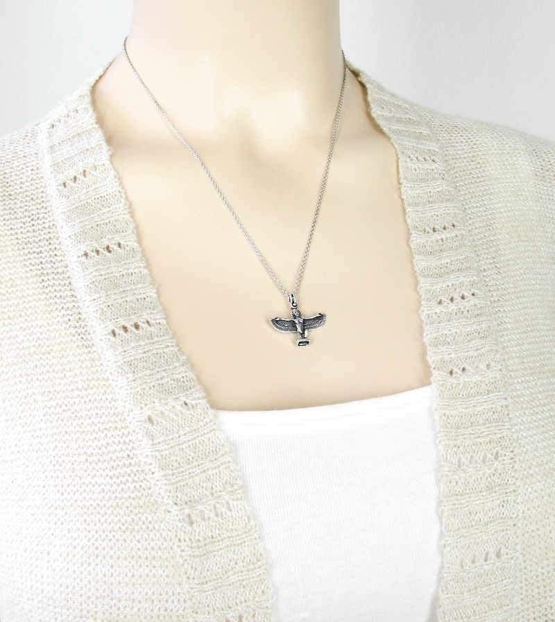 Egyptian Bird Goddess Isis With Spread Wings Necklace Sterling Silver