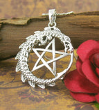 Gleaming Pentacle Necklace With Dragon | woot & hammy thoughtful jewelry