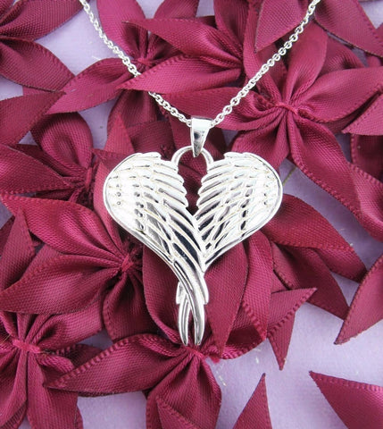 Heart-Shaped Folded Angel Wings Necklace in Sterling Silver
