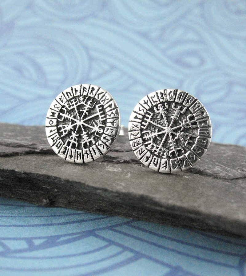 Icelandic Viking Vegvisir With Runes Post Earrings  | woot & hammy thoughtful jewelry