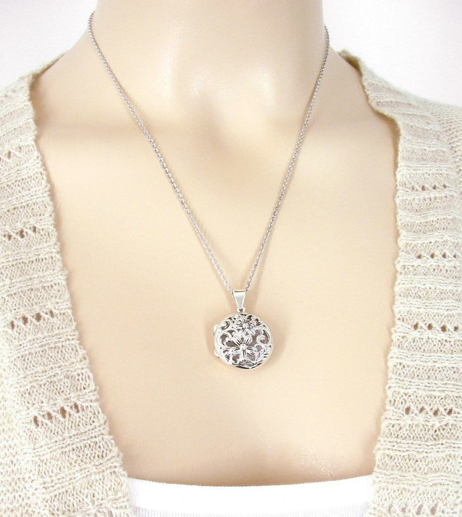 Flower Locket Necklace with Open Scroll Work - woot & hammy