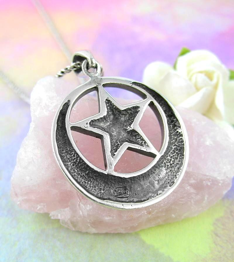 Pentacle with Upturned Celtic Moon Necklace - woot & hammy