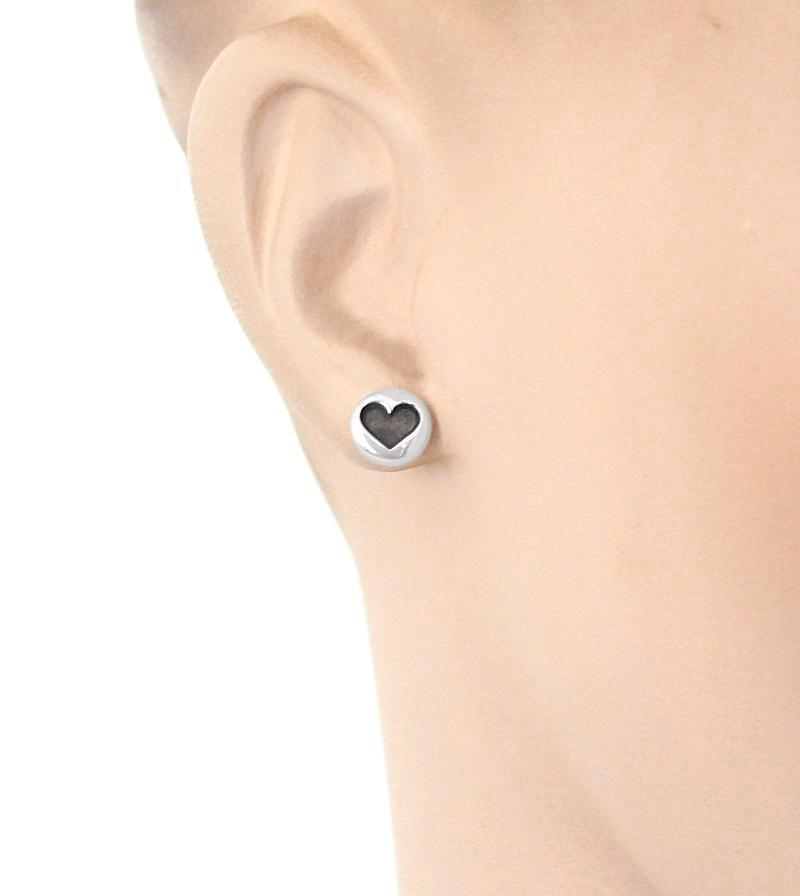 Small Round Earrings with Oxidized Hearts | woot & hammy thoughtful jewelry
