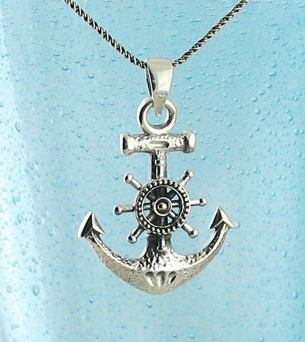 Hammered Anchor with Steering Wheel Necklace - woot & hammy