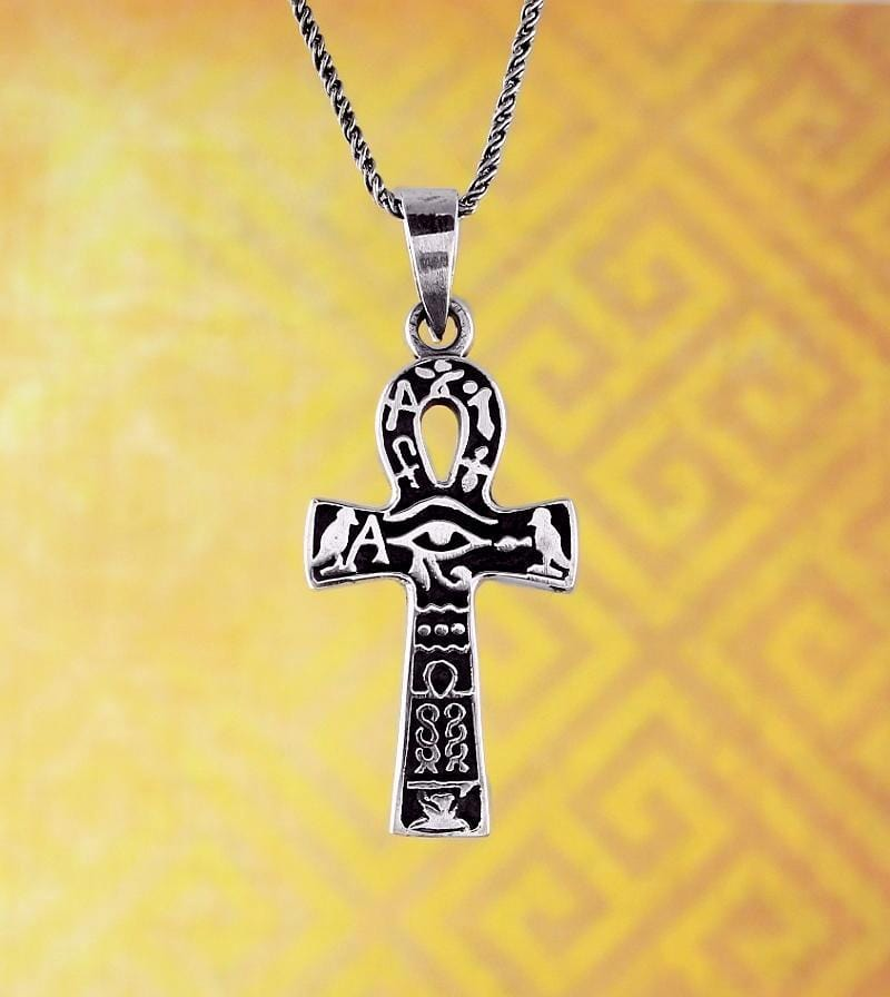 Eye Of Horus Ankh Necklace With Hieroglyphics Free Shipping In Usa