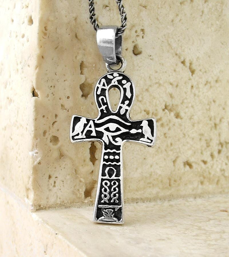 Eye of Horus Ankh Necklace With Hieroglyphics - woot & hammy
