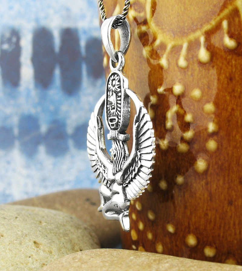 Isis, Winged Egyptian Bird Goddess Necklace with Cartouche Sterling Silver