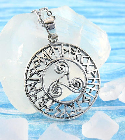 Large Ancient Triskelion Necklace With Runic Symbols | woot & hammy