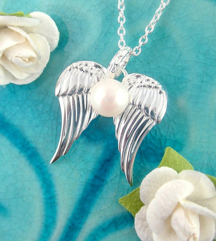 Angel Wing Pendant In Sterling Silver With Pearl | woot & hammy thoughtful jewelry