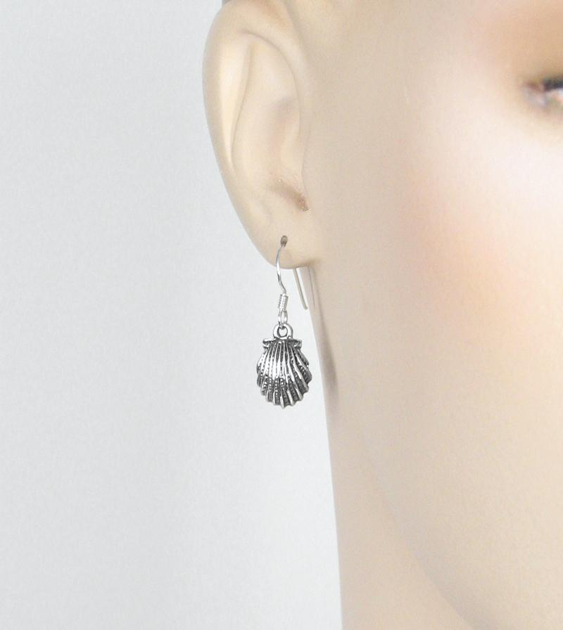 Antiqued Scalloped Shell Hook Earrings | woot & hammy thoughtful jewelry