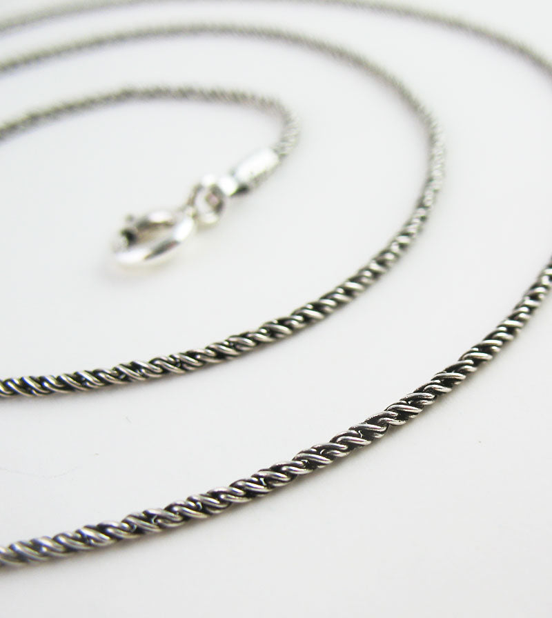 1.2 mm Antiqued Sterling Silver Rope Chain