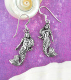 Antiqued Twin Mermaids Hook Dangle Earrings Nautical Sailor Jewelry Sterling Silver
