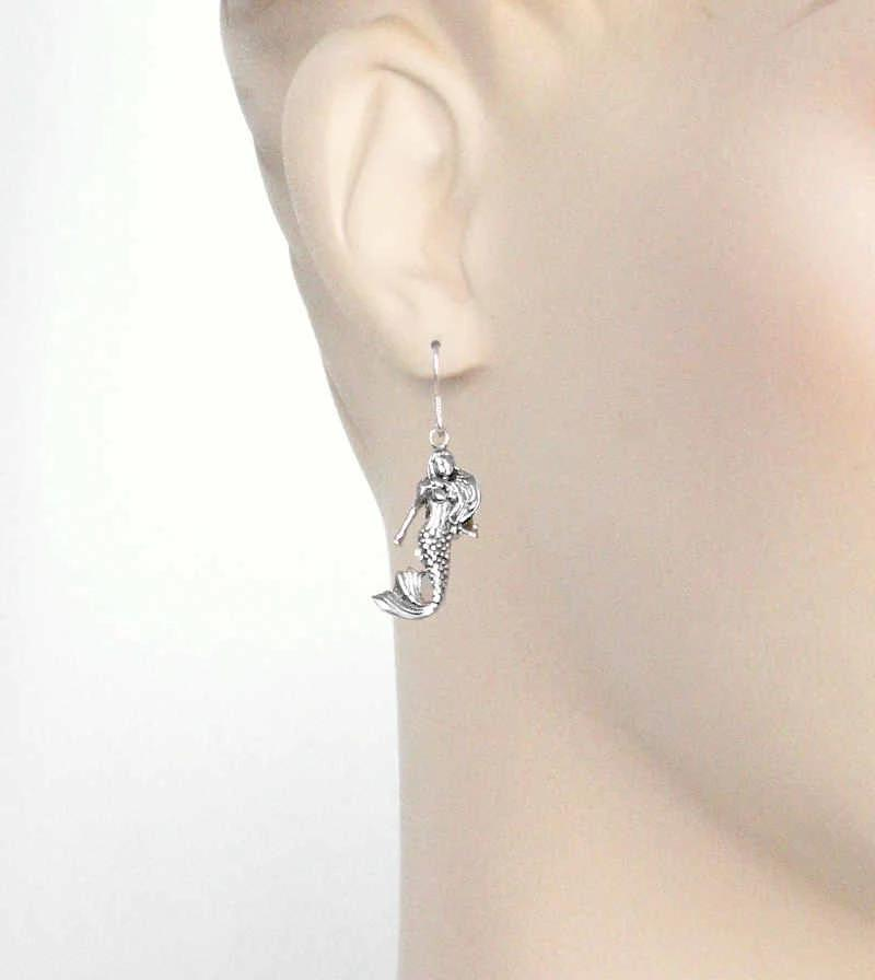 Antiqued Twin Mermaids Hook Earrings | woot and hammy