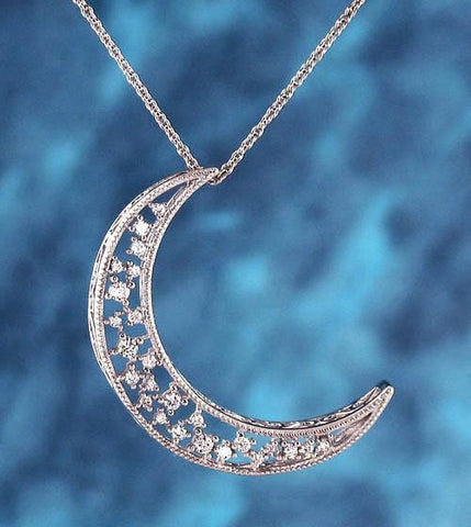 Shimmering Crescent Moon Necklace with Crystals - woot & hammy