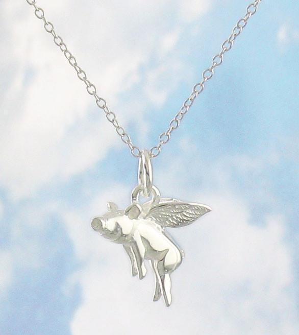 Flying Pig - When Pigs Fly Necklace in Sterling Silver