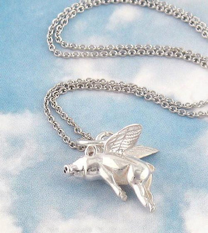 Flying Pig Necklace in Sterling Silver - woot & hammy