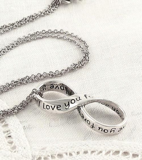 I Love You Forever Infinity Sign Necklace - Infinity Symbol Necklace in Sterling Silver - Womens