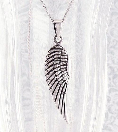 Angel Wing Pendant Necklace in Sterling Silver-Comfort & Hope > Angel Wing Necklaces-woot & hammy