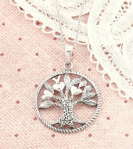 Tree of Life Necklace with Three Hearts in Sterling Silver - woot & hammy