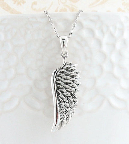 Angel Wing Pendant Necklace in Sterling Silver