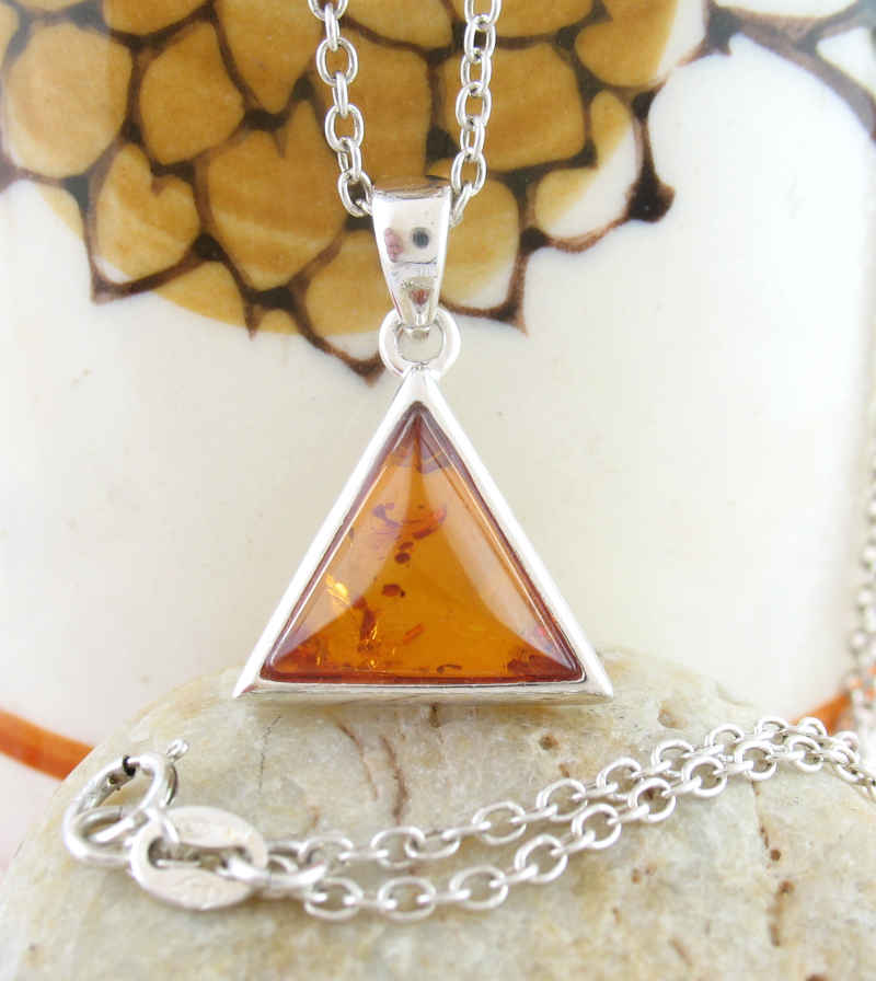Chunky Baltic Amber Triangle Pendant | Woot & Hammy