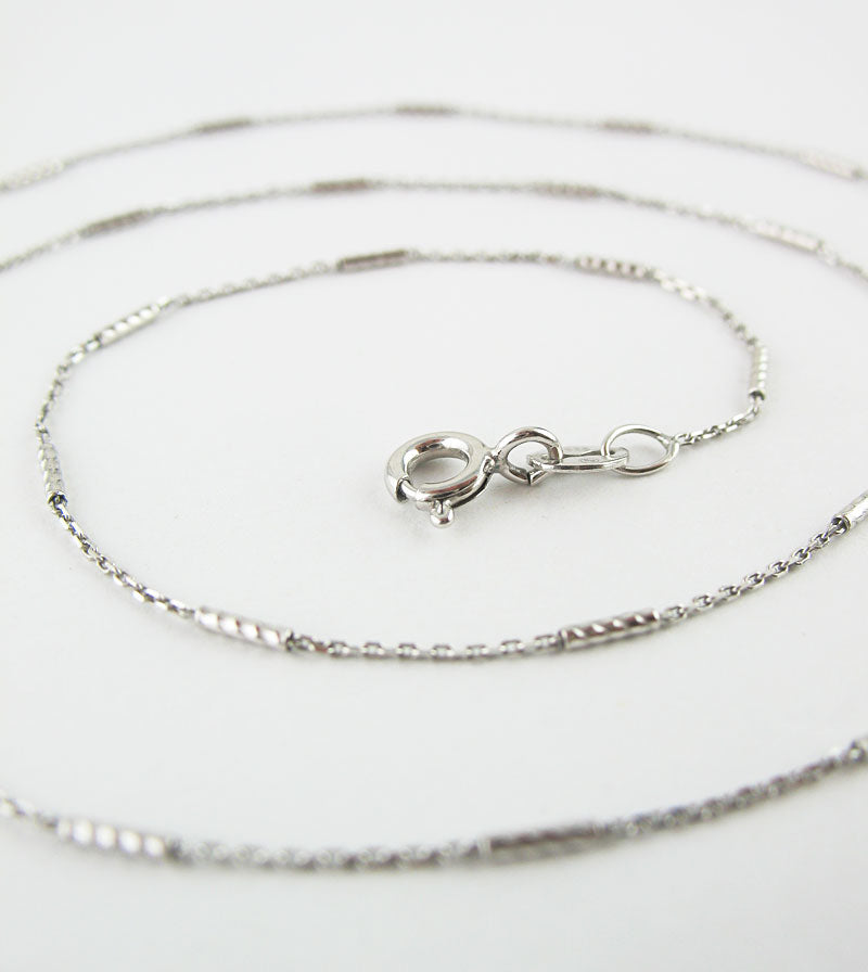 1 mm Rhodium-Plated Sterling Silver Bar & Diamond-Cut Cable Chain