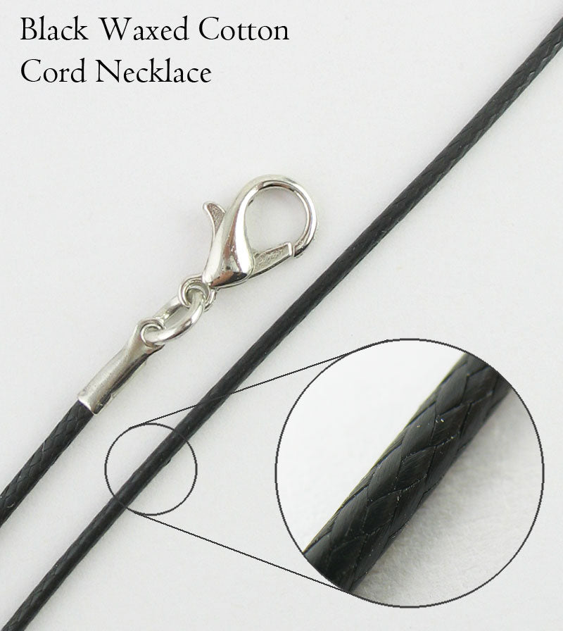 Black Waxed Cotton Cord Necklace