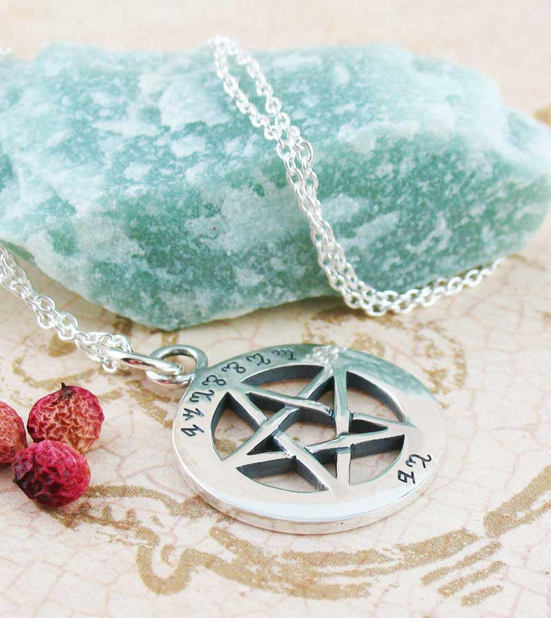Blessed Be Theban Pentacle Necklace Witches Alphabet Sterling Silver