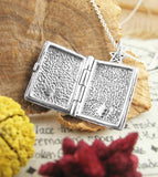 Book of Shadows Pentacle Locket Necklace Wiccan Pagan Witch Journal Diary