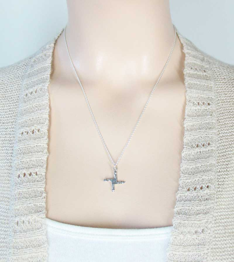 Small St. Brigid's Cross Necklace Patron Saint Ireland Sterling Silver