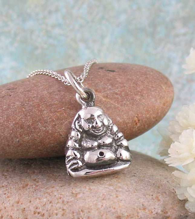 Fat Laughing Hotei Smiling Zen Buddha Necklace Sterling Silver