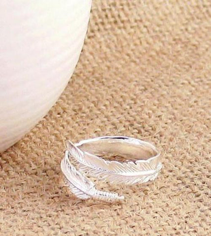 Simple Wrap Around Feather Ring Sterling Silver Adjustable