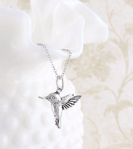Tiny Mini Hummingbird Necklace in Sterling Silver - woot & hammy