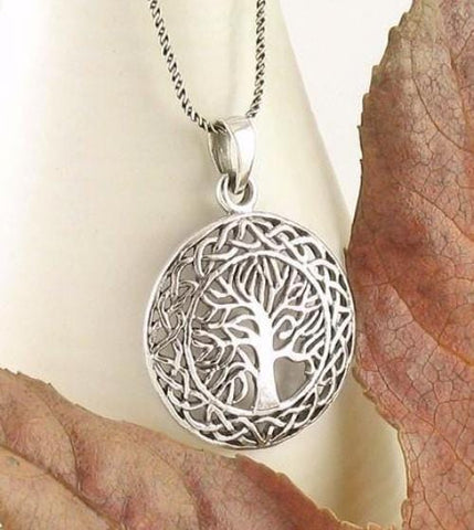 Celtic Tree of Life Medallion Necklace in Sterling Silver-Tree of Life > Tree of Life Necklaces-woot & hammy