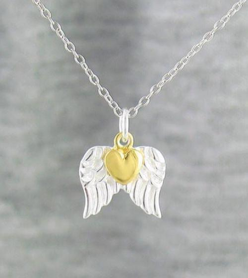 Tiny Pair of Angel Wings with a Gold Heart Necklace in Sterling Silver-Inspiration-woot & hammy