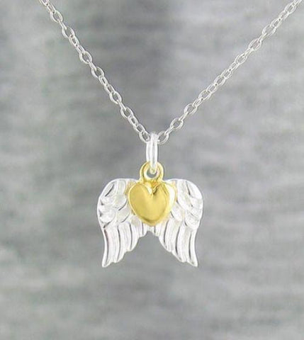 Pair of Angel Wings Necklace with a Gold Heart in Sterling Silver - woot & hammy
