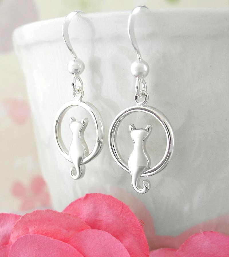 Cat Sitting on Full Moon Outline Earrings in Sterling Silver - woot & hammy