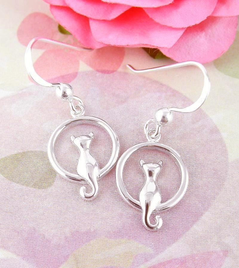 Details about  /Cat Sitting on Full Moon Dangle Hook Earrings Sterling Silver Cat Lover wh442