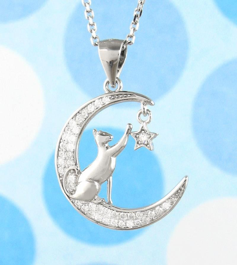 Cat Reaching for a Star on a Crescent Moon Necklace - woot & hammy