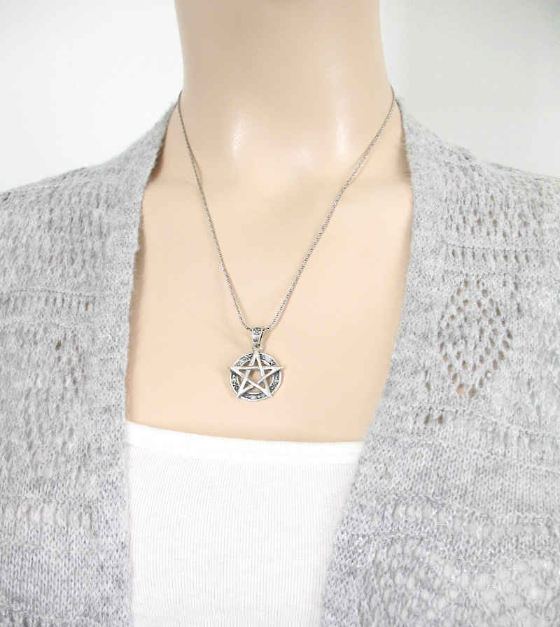 Celestial Pentacle Pendant With Moons and Stars | woot & hammy