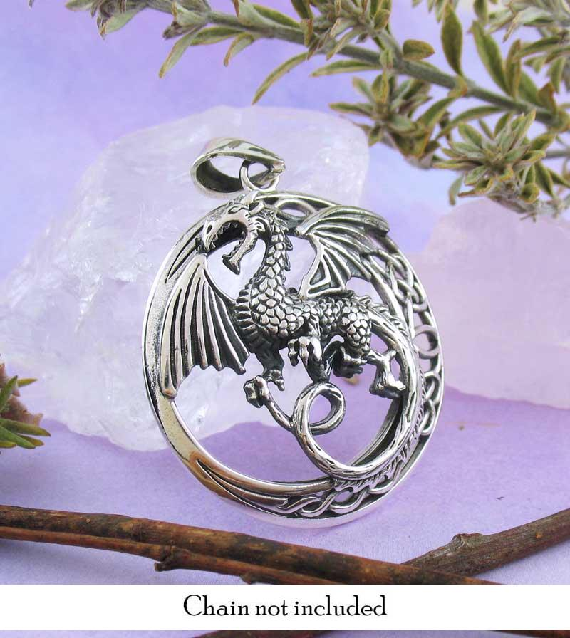 Mythical Flying Dragon Pendant With Celtic Moon