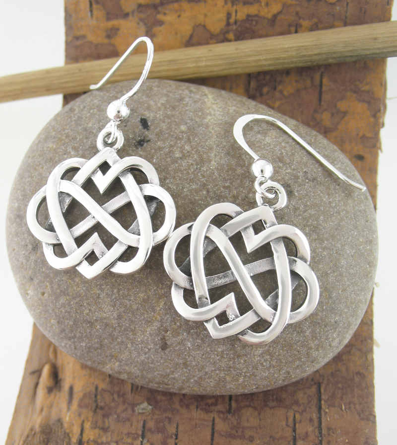 Celtic Double Heart Infinity Dangle Earrings Sterling Silver