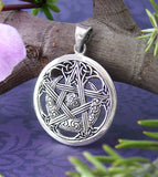 Moon Pentacle Pendant with Vine-like Celtic Knots