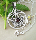 Pentacle Pendant With Crescent Moon and Garnet | woot & hammy