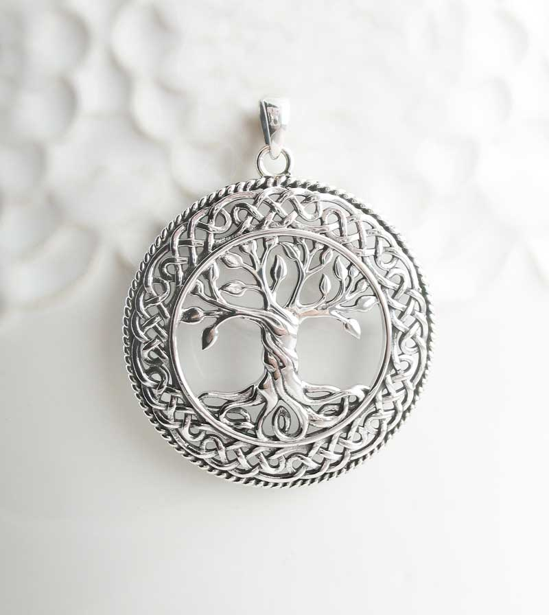 Tree of Life Pendant with Twisted Trunk & Intricate Celtic Knot Border Sterling Silver Medallion