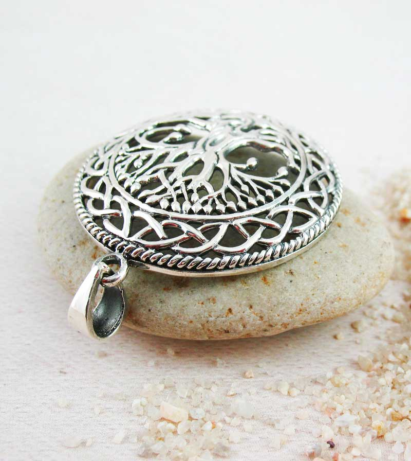 Dome-Shaped Celtic Tree of Life Medallion Pendant