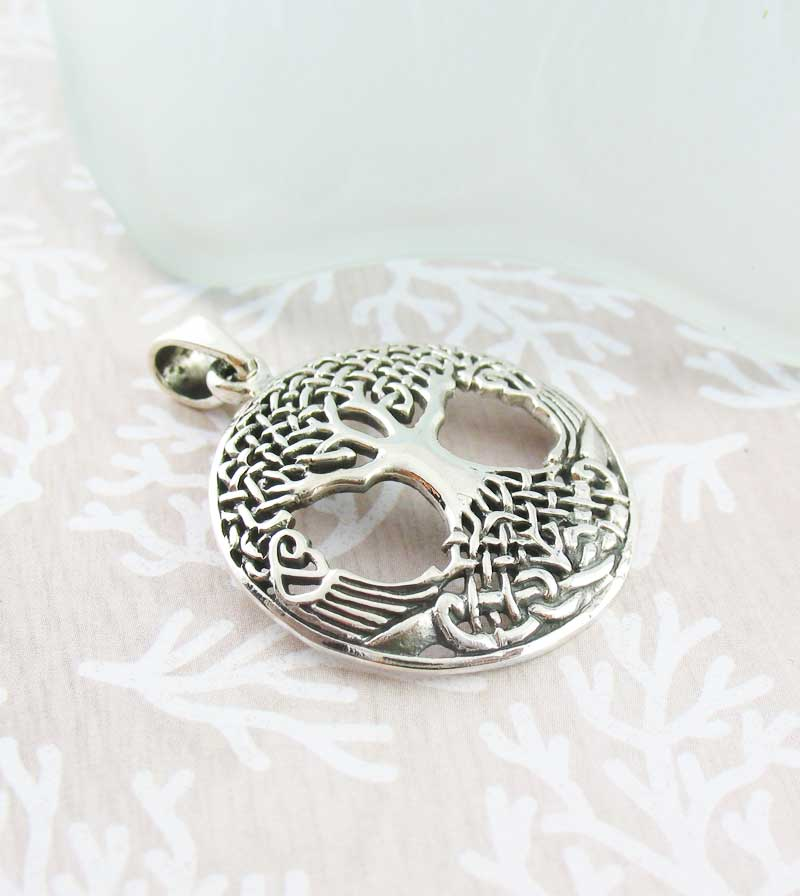 Celtic Tree of Life Pendant with Intricately Knotted Branches and Roots Sterling Silver