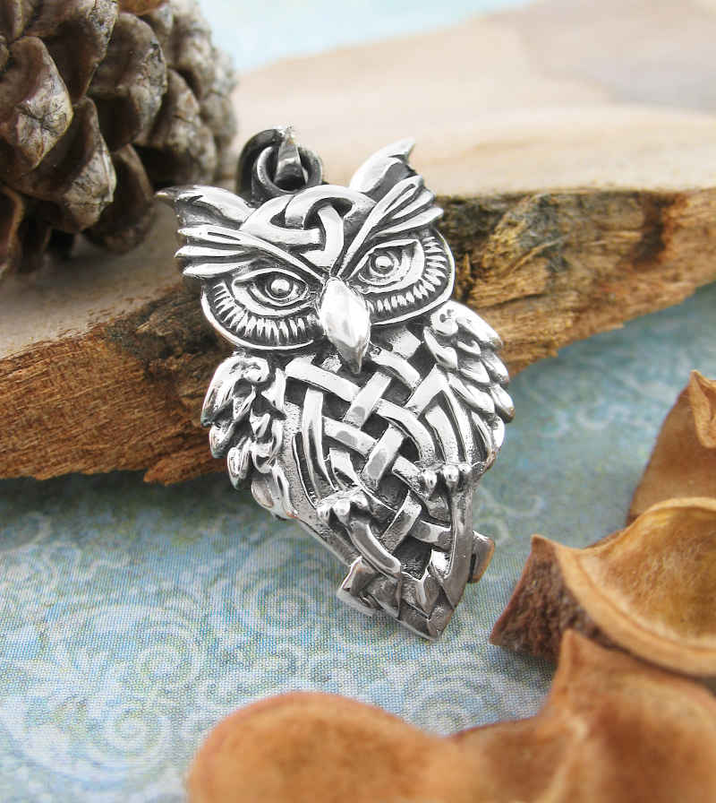 Owl With Triquetra and Celtic Knots Pendant | woot & hammy