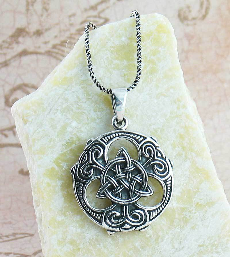 Ornate Celtic Trinity Knot Medallion Necklace - woot & hammy