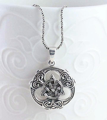 Ornate Celtic Trinity Knot Medallion Necklace in Sterling Silver